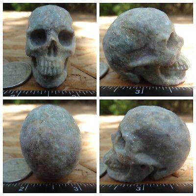 "1.98"" Ruby Green Kyanite Skull Carved Stone 97g 3.4oz Crystal Healing Realistic"