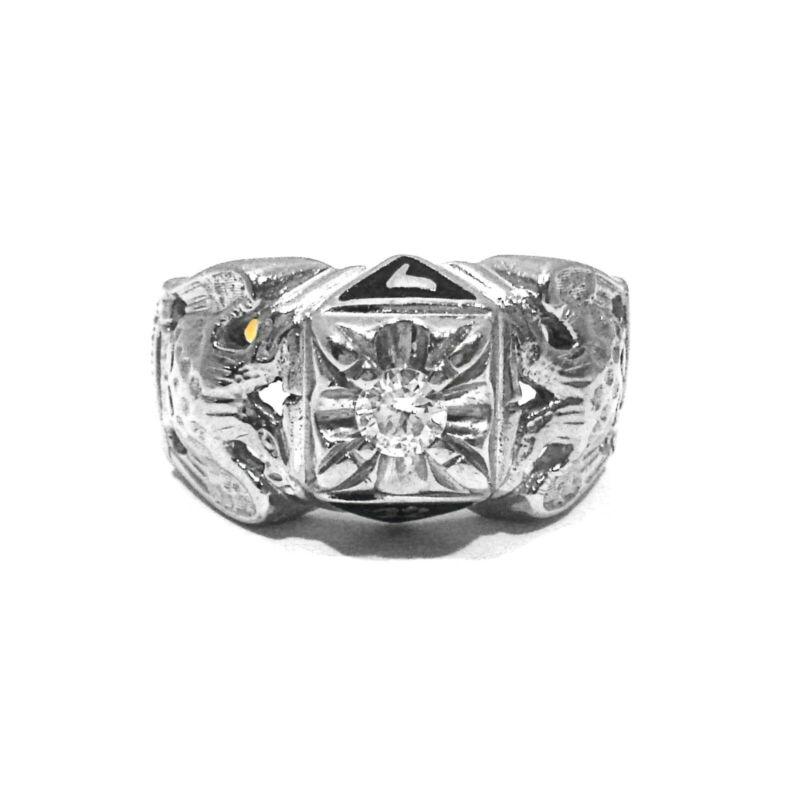 SOLID 10K YELLOW & WHITE GOLD & .25CT DIAMOND MASONIC RING ~ SIZE 11 1/2