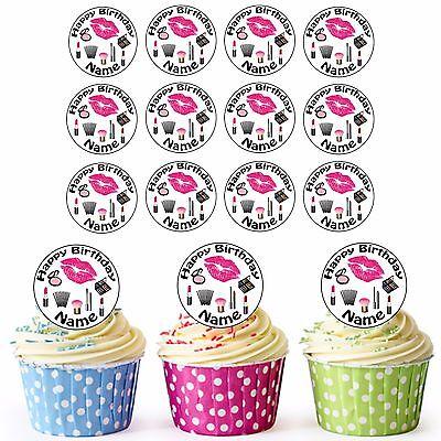 Make-Up Kosmetik 24 Personalisiert Vorgeschnittene Essbare Cupcake Topper