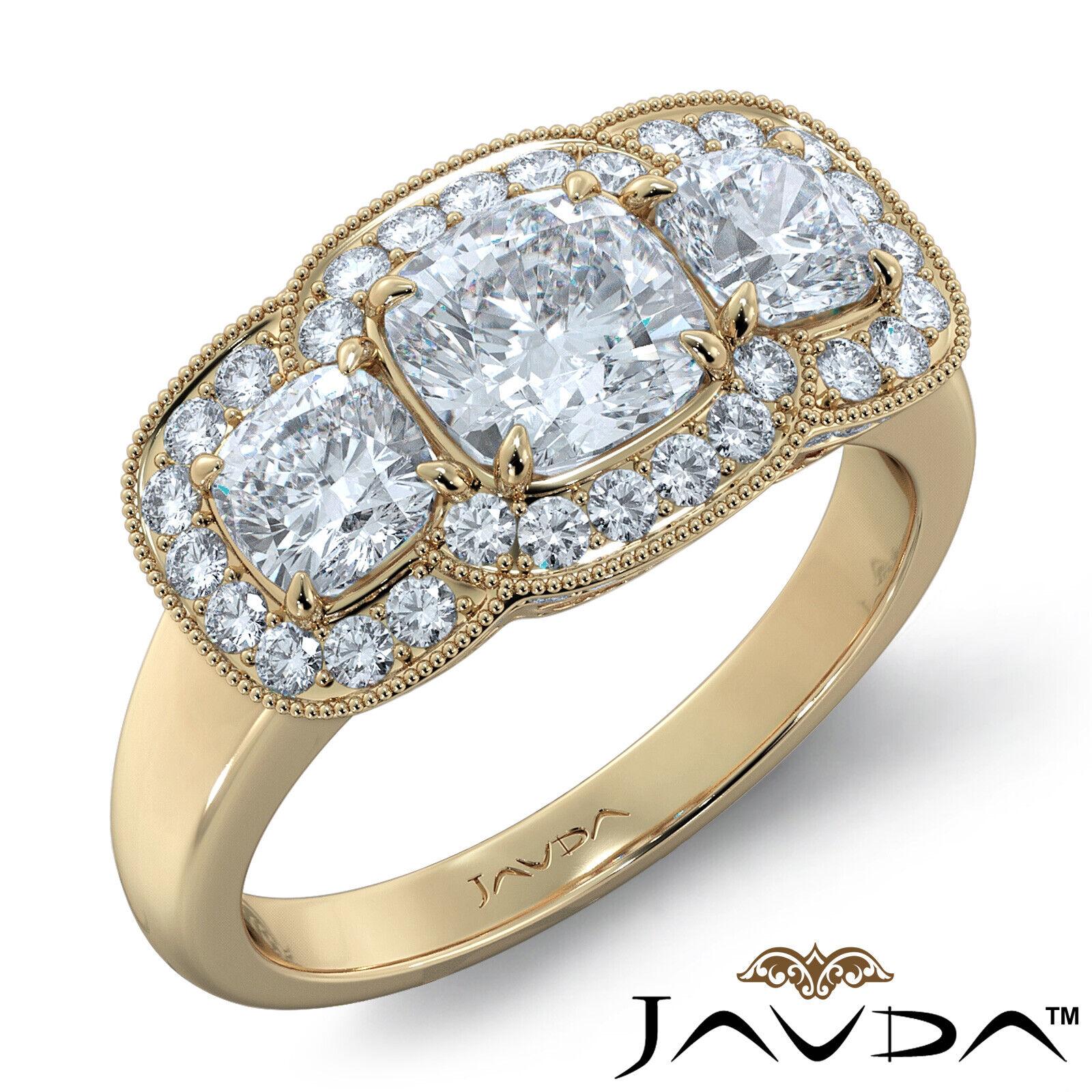 2.25ctw Milgrain Halo 3 Stone Cushion Diamond Engagement Ring GIA I-SI1 W Gold 7