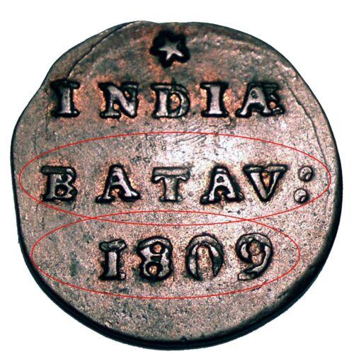NETHERLANDS EAST INDIES, BATAVIAN REPUBLIC 1/2 DUIT 1809 Doubled Die Error E11.1