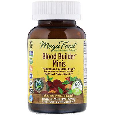 Dairy Free - MegaFood Blood Builder Minis 60 Tablets Dairy-Free, Gluten-Free, Kosher, NSF