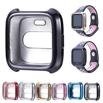 Metallisch Silikon Schutz Hülle Tasche Cover Case Für Fitbit Versa Uhr Armband Armband Case Cover