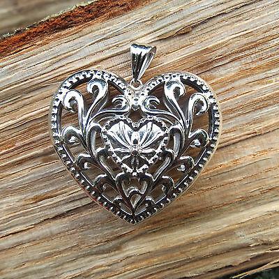 Fancy Puffed Heart - New BIG & Beautiful 14K White Gold Fancy Puffed Filigree Heart Pendant