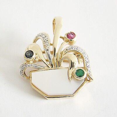 Brosche Gold 585er Diamant Rubin Saphir Smaragd Goldschmuck Damen Goldnadel