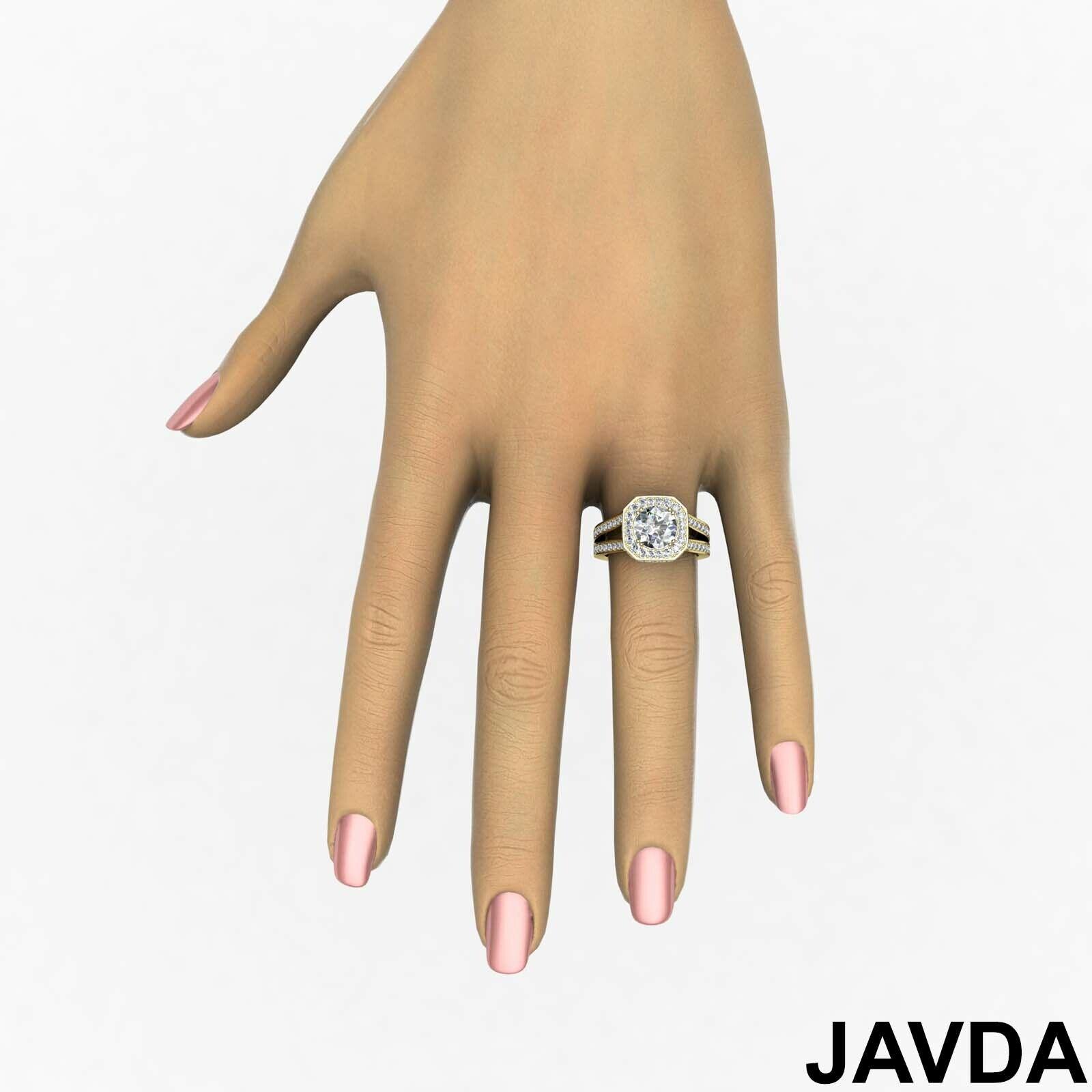 Hexagon Halo Split Shank Round Diamond Engagement Ring GIA F VS1 Clarity 2.84Ct 9
