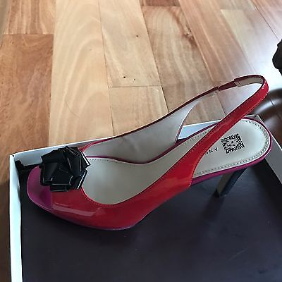 Ann Klein SZ 9 Womens Red and Pink Peep Toe Sling Back Heel 60206539-5DH