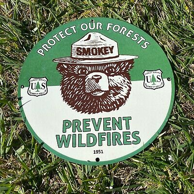 "VINTAGE 1951 SMOKEY THE BEAR 12"" PORCELAIN METAL GAS OIL PREVENT WILDFIRES SIGN"