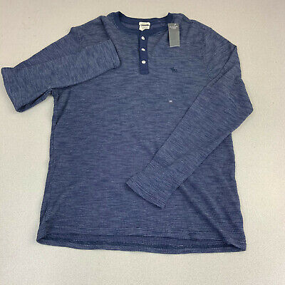 New Abercrombie & Fitch Muscle Polo Shirt Mens XXL Blue Long Sleeve Casual
