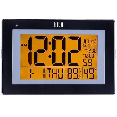 "hito 9.5"" Large Digital Battery Atomic Alarm Clock Desk Wall Clock Self"