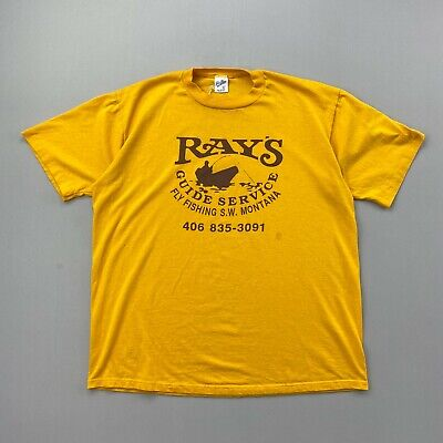 80s Tops, Shirts, T-shirts, Blouse   90s T-shirts Vintage 80s Ray's Guide Service Yellow T Shirt Mens Size XL Single Stitch $23.99 AT vintagedancer.com
