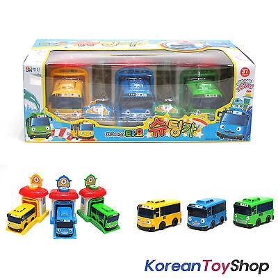 The Little Bus Tayo Rogi Rani Shooting Cars & Garage Toy Set 3pcs, KoreanToyShop