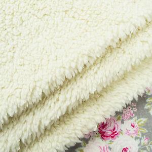 Ivory Lamb Fleece Cuddle Fabric / sherpa fur doll bear cream white toy sheep