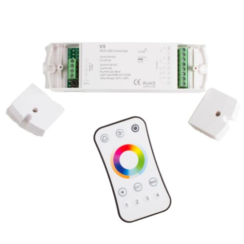 LEDupdates 5 in 1 RGB controller for RGBW + WW CCT LED Strip Light + Remote