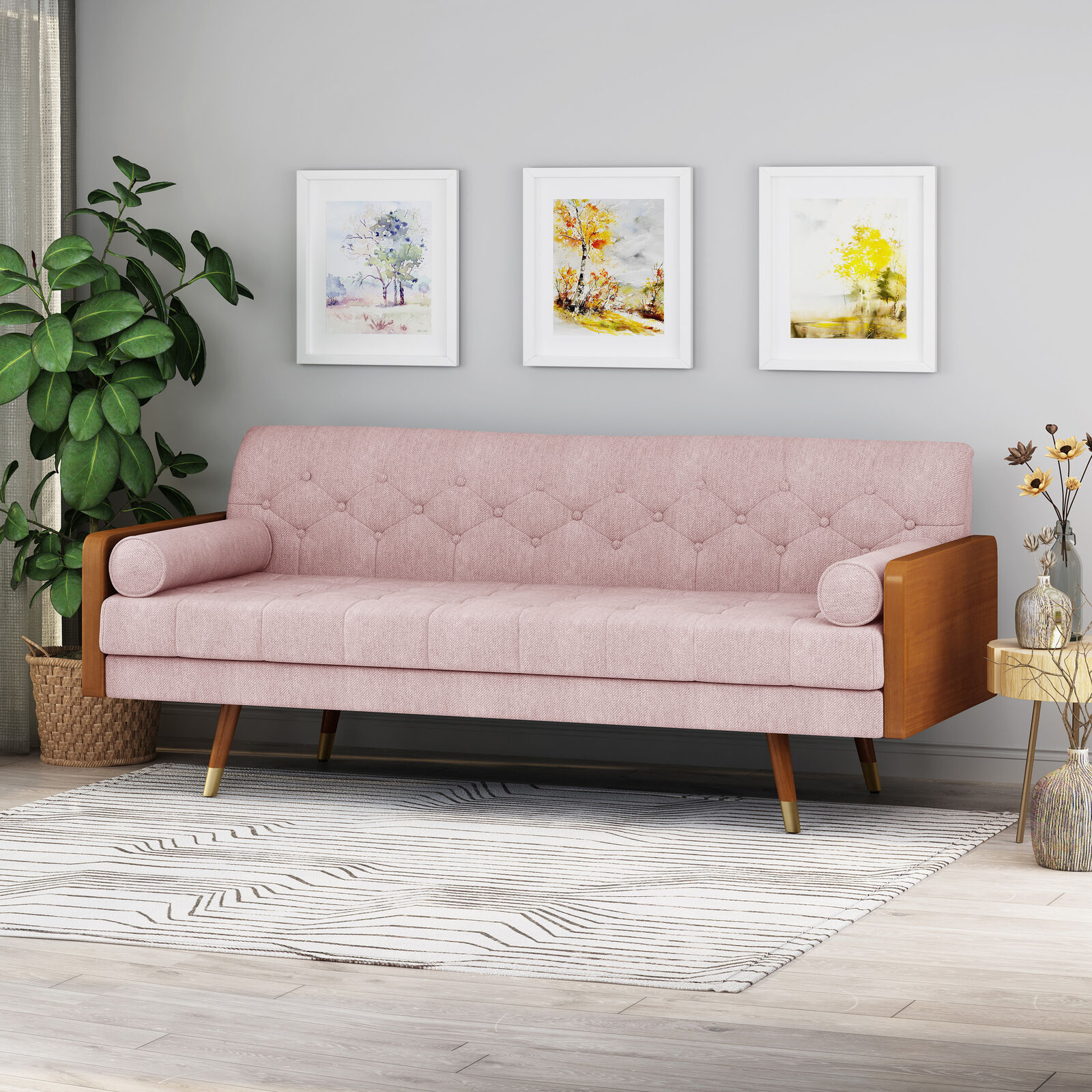 Aidan Mid-Century Modern Tufted Fabric Sofa Furniture