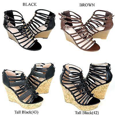 NEW Women's Cork Wedge Platform Strappy Gladiator High Heel Shoes Sandals