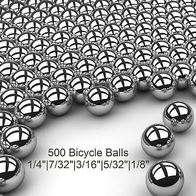 500 Piece Assorted Loose Bicycle Bearing Balls 1/8″, 5/32″, 3/16″ 7/32″ & 1/4″ Bearings