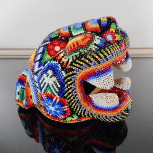 Huichol Jaguar Head Beaded Signed Mexican Chaquira Folk Art Large Panther Cat