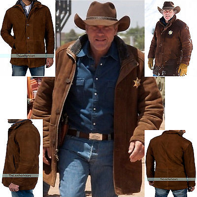 Longmire Sheriff Walt Robert Taylor Suede Leather Coat   All Sizes   Fast Ship
