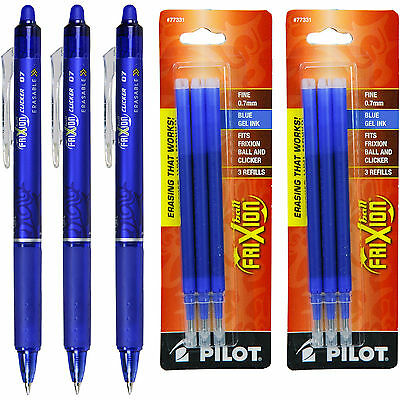 Pilot Frixion Clicker Erasable Blue Gel Ink Pens 3 Pens With 2 Pk Of Refills