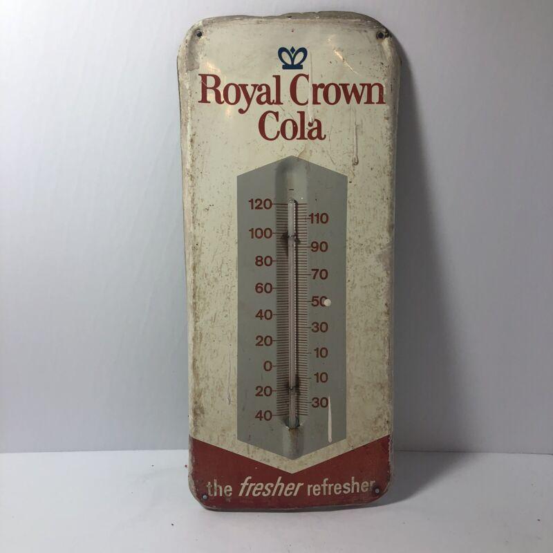 Vintage Royal Crown Cola Metal Thermometer Soda Pop Advertising Works!