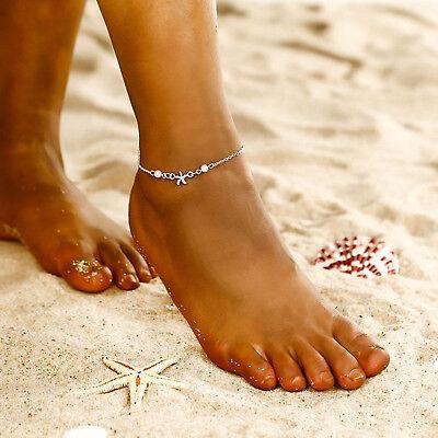 ☆ Fußkette Fußkettchen | Meer Seestern | Silber Perlen weiß | Edelmetall ☆