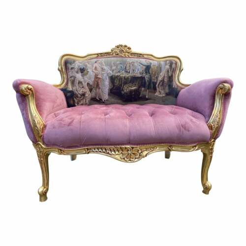 French Louis XVI Style Settee in Velvet and Gobelin