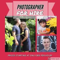 PHOTOGRAPHER AVAILABLE (only $50 per hour)
