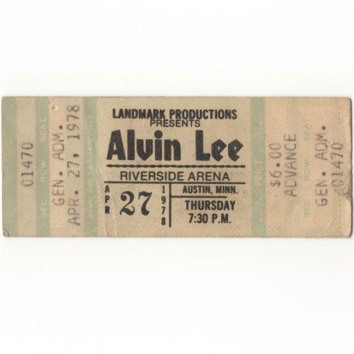 ALVIN LEE & TEN YEARS LATER Concert Ticket Stub AUSTIN MN 4/27/78 RIVERSIDE Rare