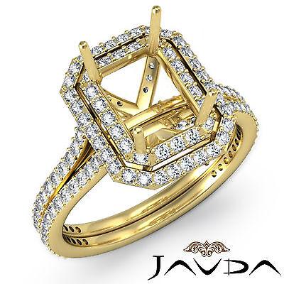 Emerald Semi Mount Ring - Pave Set Diamond Engagement Emerald Shape Semi Mount Ring 18k Yellow Gold 1.6C