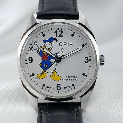 Oris 17J Swiss Made ST96 White Donald Duck Dial Mechanical Movement Watch Wrist