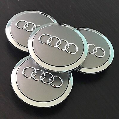 (4x PC Grey Chrome Wheel Rim Center Replacement Hub Caps for Audi 69MM 4B0601170A)