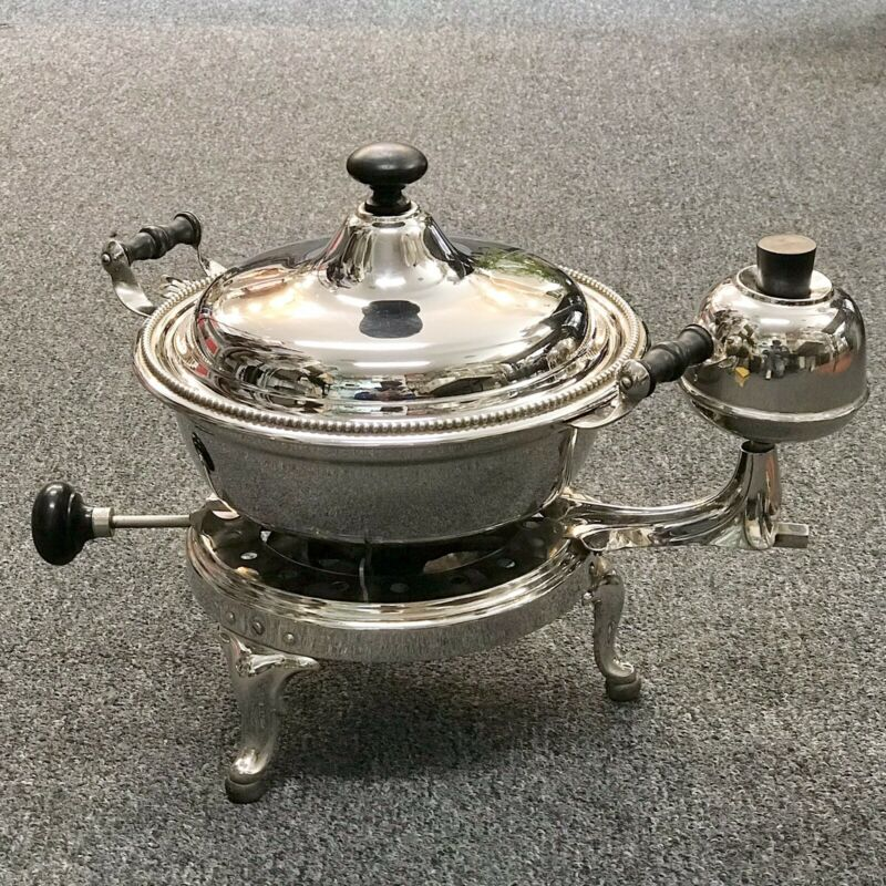 Manning Bowman 1909 Pat. Portable Alcohol Gas Stove Burner Antique Polished