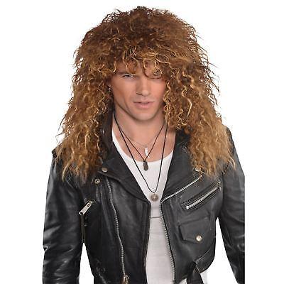 Mens 80s Glam Rock Metal Rocker Punk Wig Fancy Dress Accessory Music Legend Stag - 80s Glam Rocker