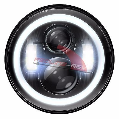 "Black 7"" Daymaker LED Projector Ring Halo Headlight Harley Davidson Motorcycle"