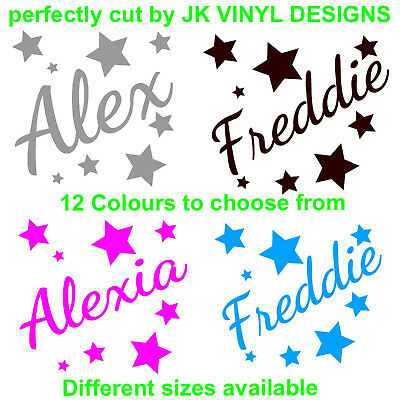 Personalised Name Stars Wall Sticker Boys Girls Kids Bedroom Custom Vinyl Name