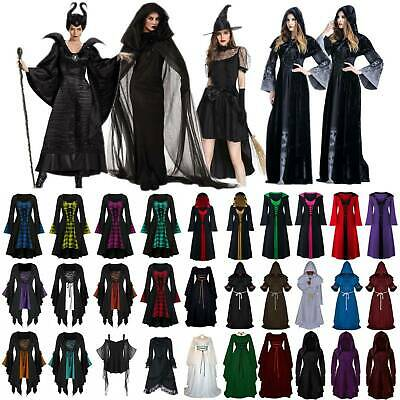 Hooded Renaissance Dress (Women Halloween Costume Witch Renaissance Gothic Medieval Gown Hooded Cape)
