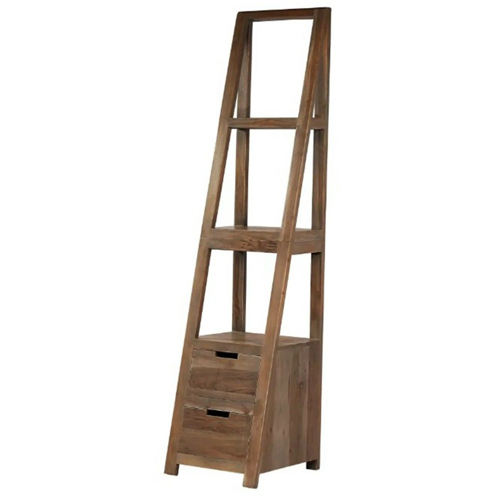 Details About Vintage Shelving Unit Ladder Style Bookcase Solid Wood Display Unit Home Storage