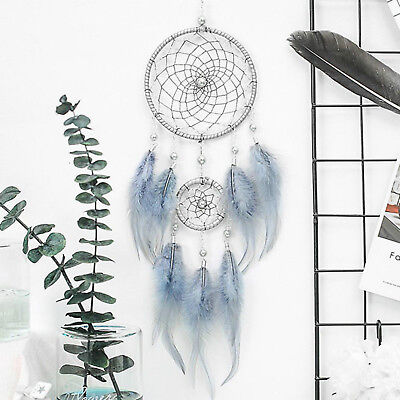 """18"""" Blue Large Handmade Feather Dream Catcher Car Wall Hanging Ornament Craft"""