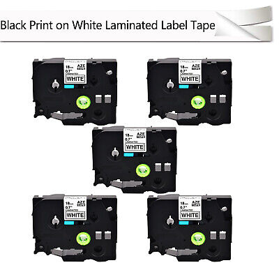 5pk Tze241 Tz241 34 Black On White Tape 18mm For Brother P-touch Label Printer
