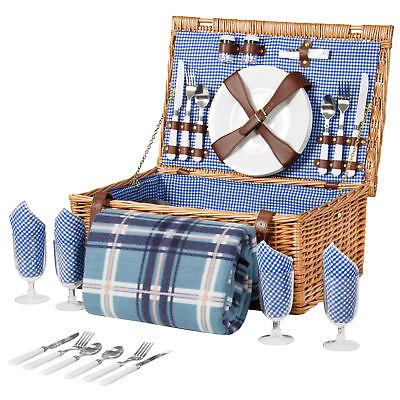4 Person Wicker Picnic Basket W  Cutlery  Plates  Glasses  Tableware   Blanket