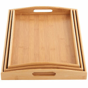 Vonshef 3pc Wooden Tray Portable Bamboo Food Serving Set Breakfast In Bed Lap