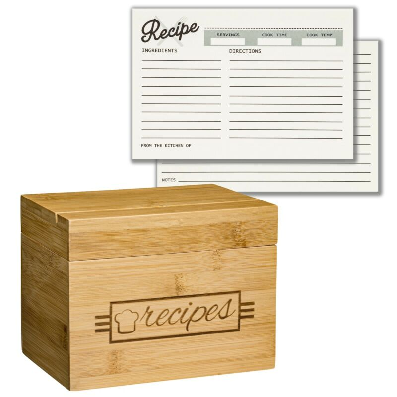 Wood Recipe Box with 100 4x6 Recipe Cards, 10 Card Dividers, and Recipe Holder