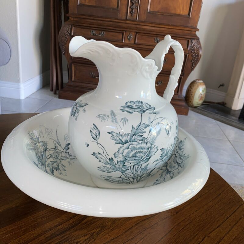 Vintage K .T. & K Co Semi -Vitreous Porcelain Pitcher And Wash Bowl