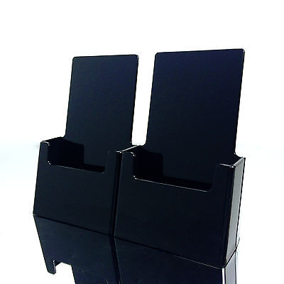 Twin Black Tri Fold Literature Brochure Holder For 4x9