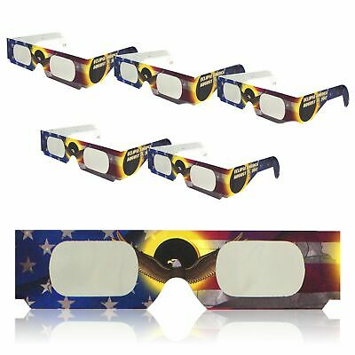 5 pk Solar Eclipse Glasses ISO Certified Safe for Direct Sun Viewing Eye Filter