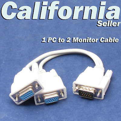 1 PC to 2 VGA SVGA Monitor Video Y Splitter Cable Dual SCREEN AUX 15 Pin Adapter segunda mano  Embacar hacia Argentina