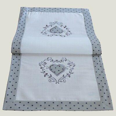 cm Tischdecke kurz Tischdeko modern grau weiß Herz  (Kurze Tischläufer)