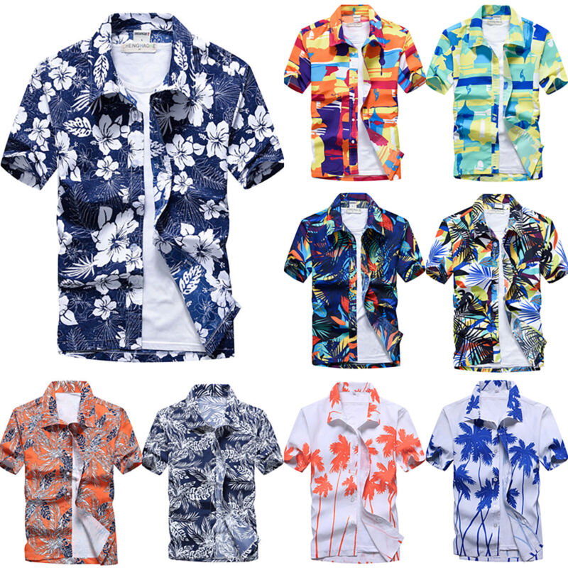 Men Floral Short Sleeve Blouse Hawaiian Shirts Summer Beach