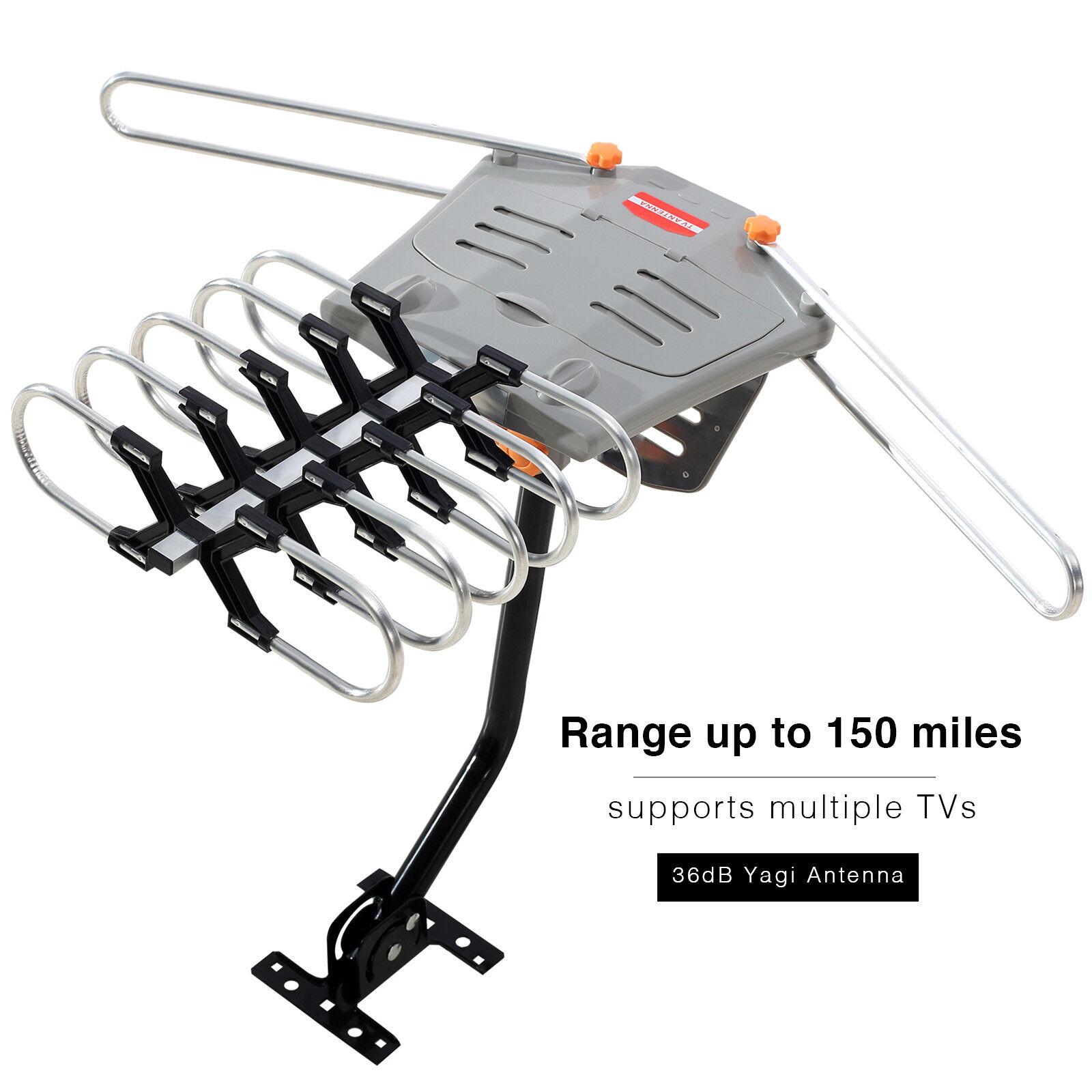 Tv Hdtv 1080p Outdoor Antenna Amplified Motorized Hd 36db Uhf Vhf Fm Yagi Wiring Diagram 150 Miles